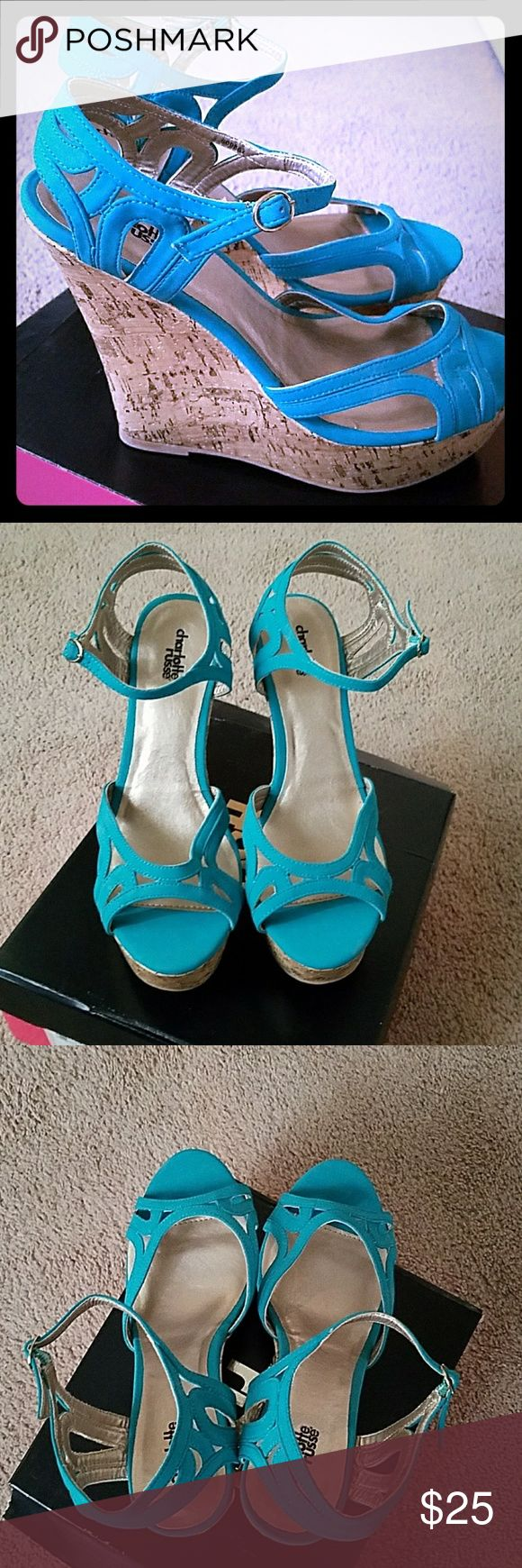 Charlotte russe teal nubuck wedges Brand new strappy teal wedges from Charlotte Russe with cork platform wedges. Size 10. Charlotte Russe Shoes Wedges