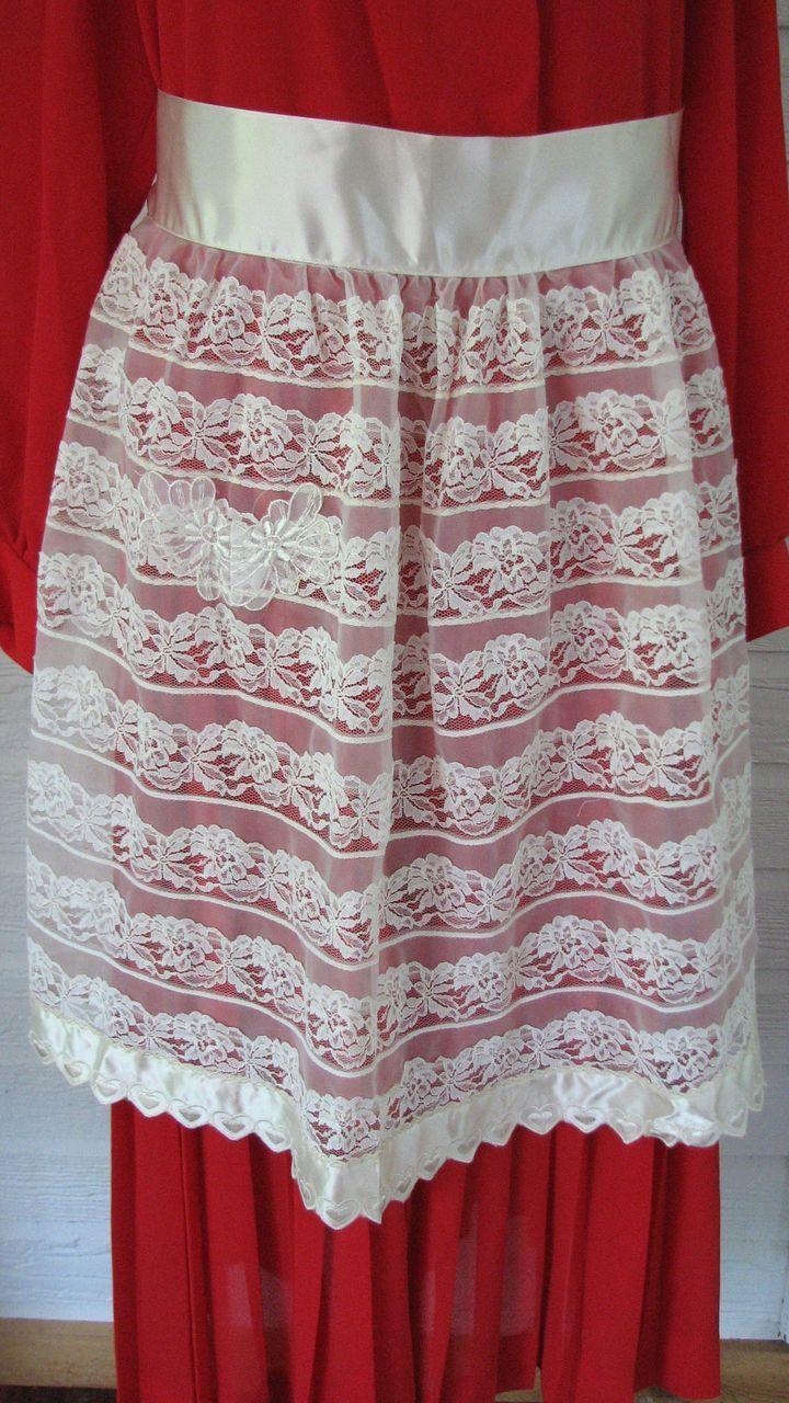 White lace apron wedding - Vintage Apron Wedding Lace Satin Hearts Half Kitchen