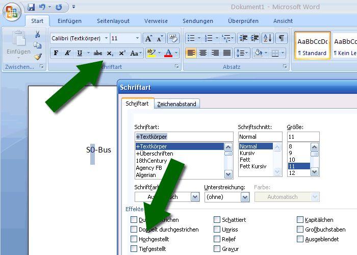 Hoch- und Tiefstellen von Zeichen unter Micorsoft Office Word 2007