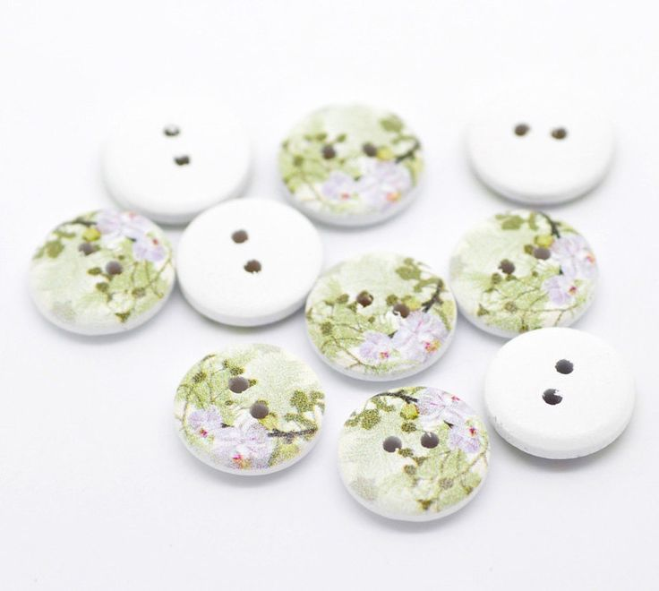 New to SkullButtonry on Etsy: 20  White Painted Floral Wood Button Two Hole (Design no.17)  15mm - 20 Pack WPB14 (2.60 AUD)