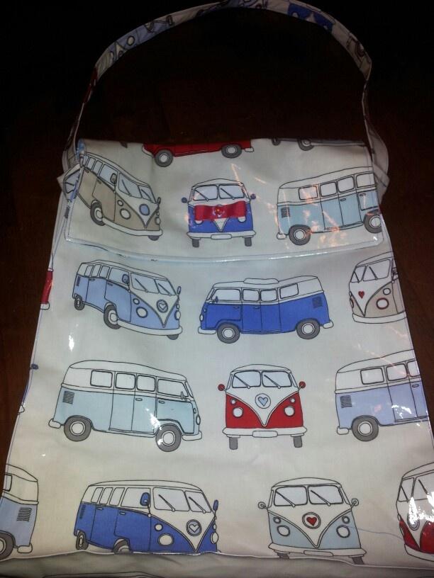 Vw van oilcloth bag