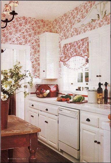 Toile LOVE! country-cottage-kitchen...I could do this one. Love it. On the list for future makeover!