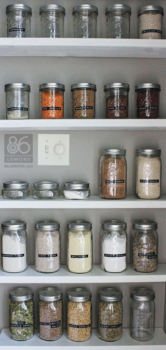 Open Pantry Shelves and Canning Jars  86lemons.com