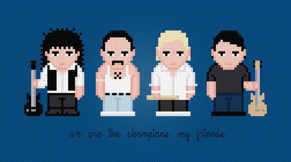 Queen Rock Band Cross Stitch PDF Pattern by pixelpowerdesign, $5.00