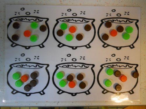 Il y a 6 chaudrons et des légumes à partager équitablement pour préparer des soupes. 6 carottes: orange 12 choux: vert 18 pommes de terre: marron
