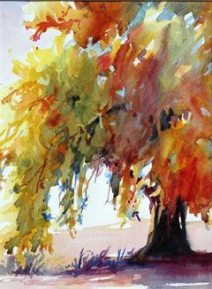 Fall Tree :: Watercolor :: Artist Unknown..looks like poured WC...great use of technique
