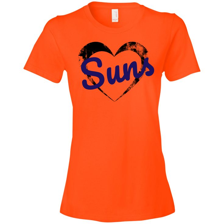 The Ladies Heart Suns T-Shirt is a direct to garment print, pre-shrunk 100% combed ringspun cotton in orange. Available in 5 sizes. Free shipping. Excellent quality. Visit SportsFansPlus.com for Details.