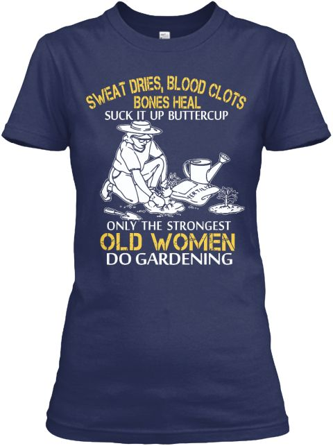 Limited   Strong Gardening Old Woman Navy Women's T-Shirt Front