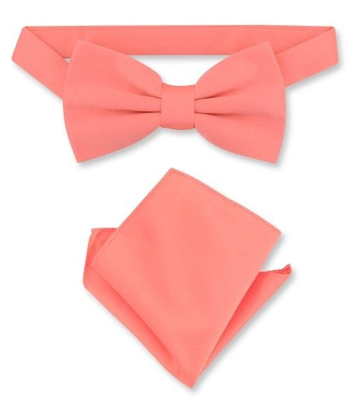 be6e6a717828 Coral Pink Bow Tie And Handkerchief Set | Mens Bowtie Set | Krisar ...