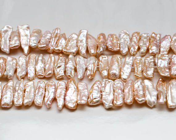 2750 Biwa pearl strand 22x7 mm Pink pearls Biwa stick