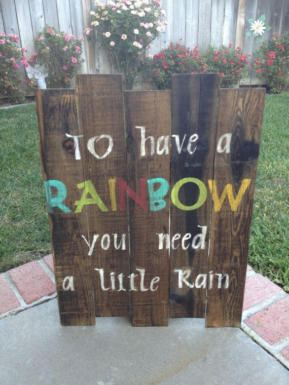 Rainbow Wood Pallet Sign by TwirpyWoods on Etsy, $40.00