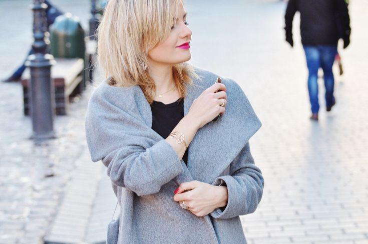 fashionable.com.pl style, fashion, stylizacja, Mango, grey, szary, smile