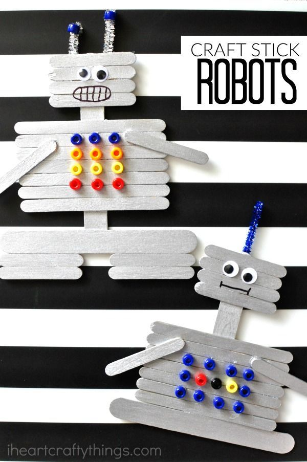This craft stick robot craft for kids is a fun and creative craft for kids. Fun kids craft, preschool craft and summer kids craft. #ArtAndCraftCreative