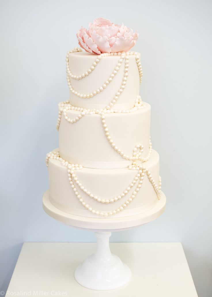 Draped Pearls and Peony Wedding Cake by Rosalind Miller Cakes - London