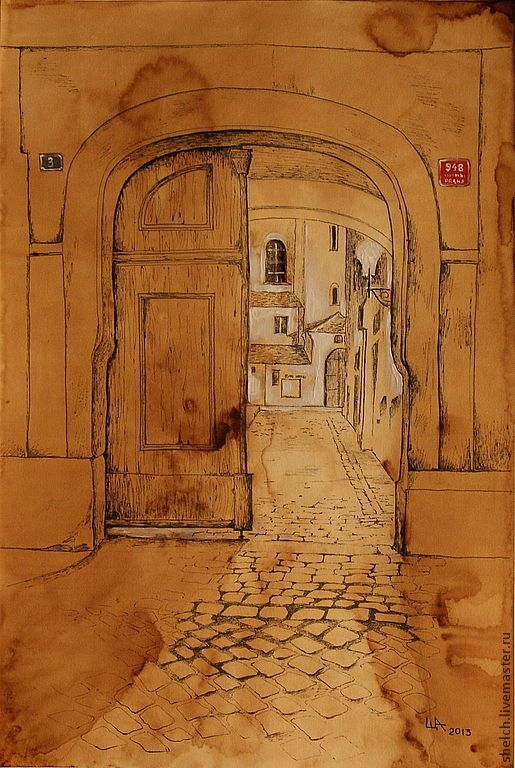 Купить картина Старая Прага. Дворы (графика, старый город) - город, старый город