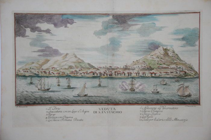 Sint Eustatius; Gazzettiere Americano - Veduta di S. Eustachio - 1777  Afmetingen: 20 x 35 cm.Conditie: goed middenvouw als uitgegeven iets verbruind aan de randen. Verso: blank.Fraaie prent van Oranjestad op Sint Eustatius.This is a rare view of St. Eustatius (Statia) in the Dutch West Indies which had the distinction of being the first foreign nation to officially recognize the newly formed United States during the American Revolution. For a while Statia was the only link between Europe…