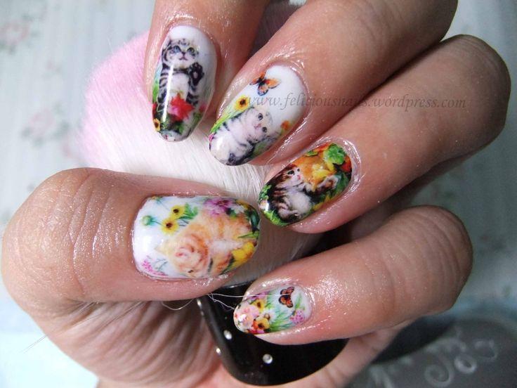 how lovely! Kitten nail art