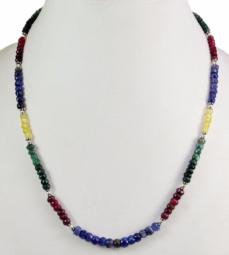 110ct Natural Ruby Emerald Sapphire 925 Silver Gem Beads Strand Necklace Clasp #KrishnaGemsNJewels #StrandString