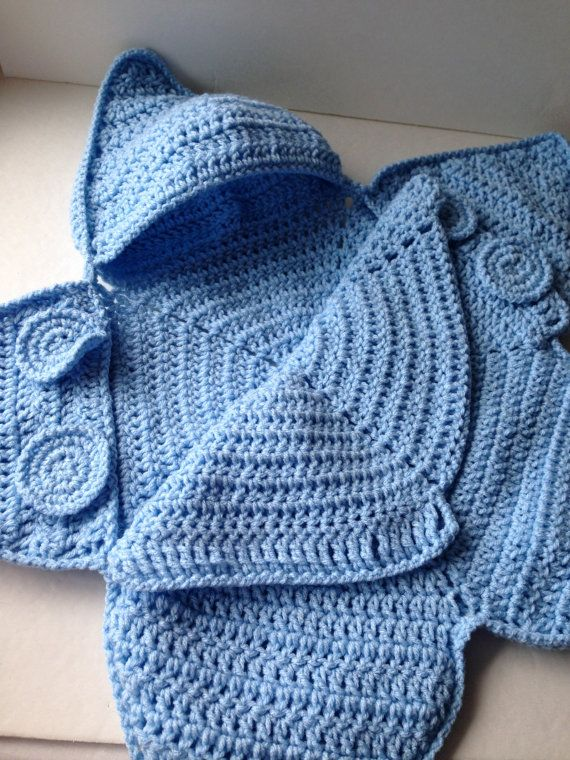 Blue Baby Bunting Bag  Blue Star Bunting  by ShelleysCrochetOle