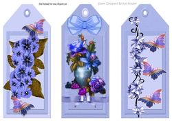 Three Pretty floral blue bookmarks toppers on Craftsuprint - View Now!
