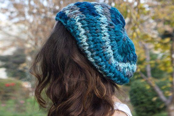 Hand Knit Blue Beret wool beret  winter berets  warmer by detcraft