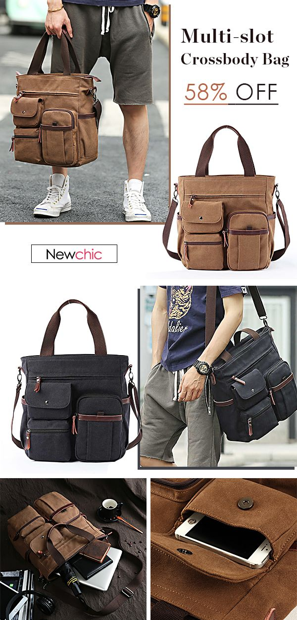 Men Canvas Large Capacity Multi-slot Crossbody Bag Business Computer Handbag   bags  mensfashion  outdoor c9e7962c02c6a