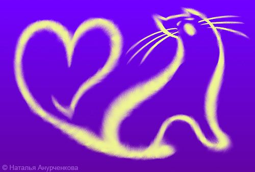 Открытка 0012 Текст на вкладыше: Любовь - это когда ты видишь,  как каждую ночь лунный свет  превращается в Поющую Кошку...  И эта Кошка не даёт тебе спать  до самого рассвета...