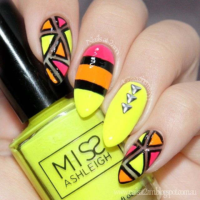 #notd more neon fun! Just can't get enough of 'em at the moment  Though I want to attempt more cut outs! #Padgram