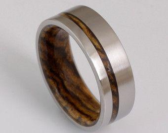 Titanium and Hawaiian Koa Rings // Mens Wood by dimaltagioielli
