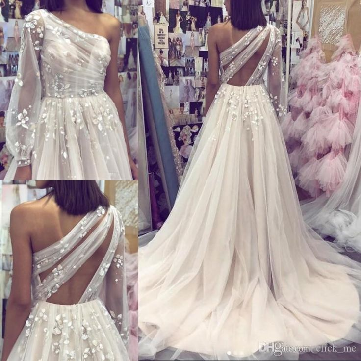A line Tulle One Shoulder Prom Dresses with Sleeves 3D Flowers Evening Dress PW523
