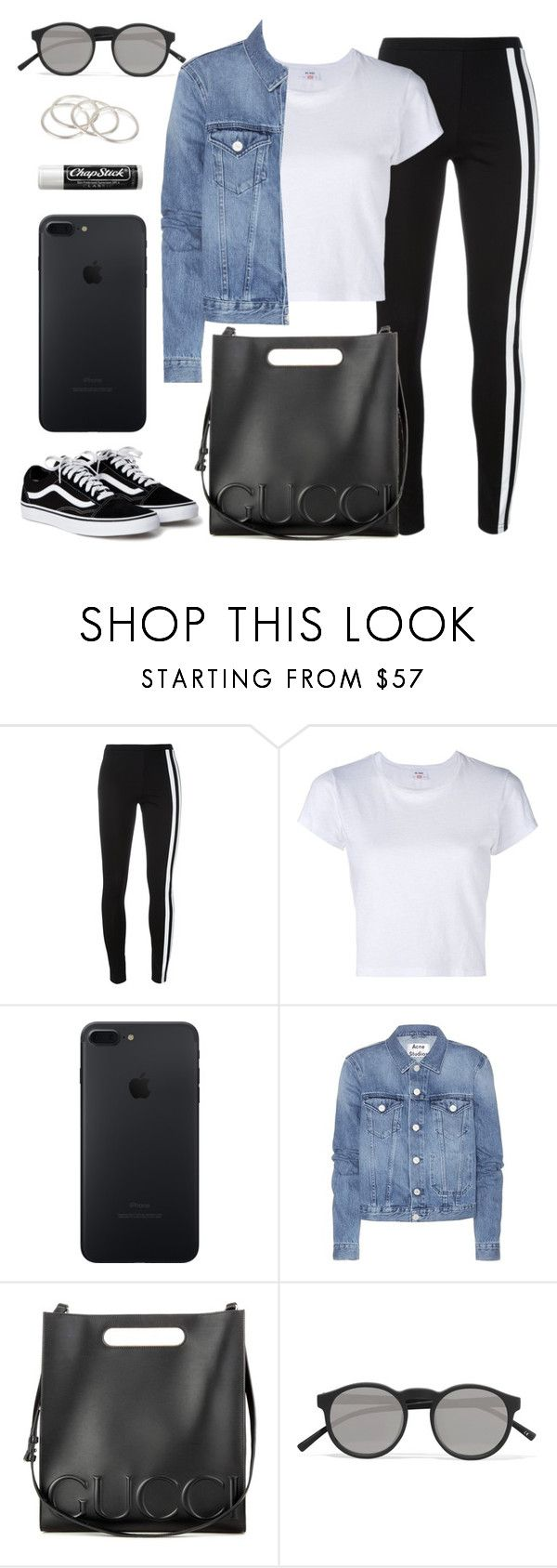 """""""#201"""" by anadaily ❤ liked on Polyvore featuring Y-3, RE/DONE, Acne Studios, Gucci, Le Specs, Chapstick and Vanessa Mooney"""
