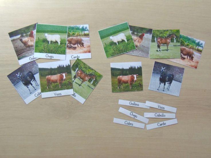 "Imprimible gratis: Tarjetas de 3 partes ""Animales de la granja"" - Free printable: ""Farm animals"" 3-part cards"