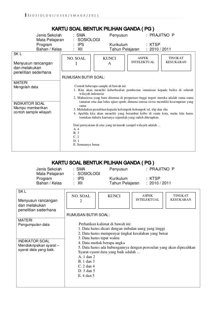 Format Kartu Soal Kurikulum 2013 Doc Penelusuran Google Kurikulum Sosiologi