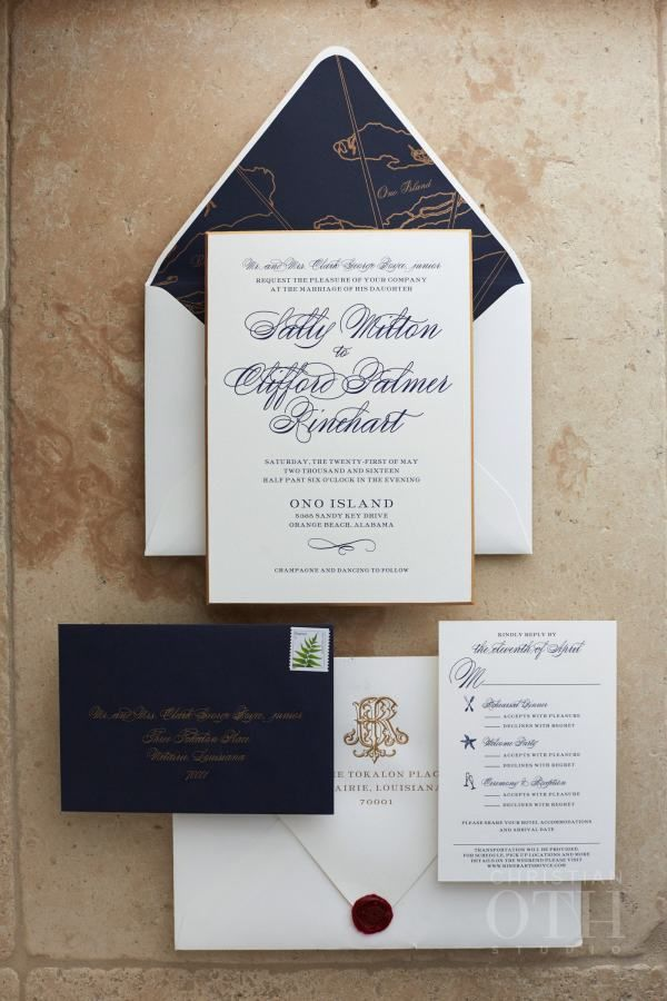 luxury wedding invitations dallas%0A Navy and gold wedding invitation paper suite  http   www stylemepretty