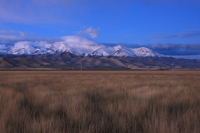 Early snow on The Soldier mountains from camas prairie, Idaho, USA