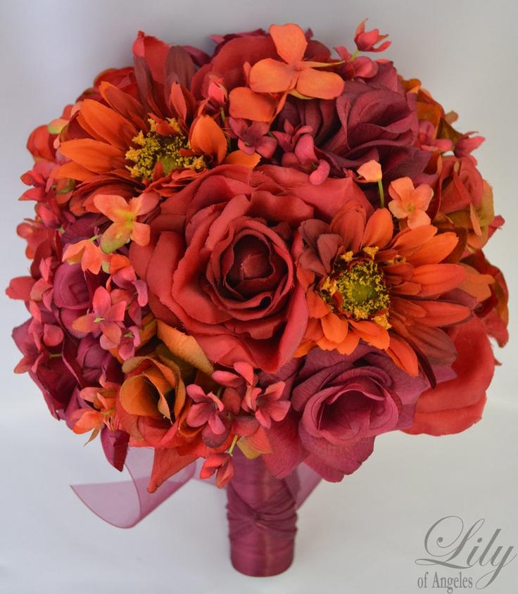 "17pcs Wedding Bridal Bouquet Silk Flower Decoration Package APPLE RED ORANGE ""Lily of Angeles"". $209.99, via Etsy."