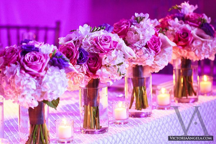 Whether each bridesmaid bouquet finds a home in a vase, or sits alongside the others lining the outside of the wedding cake, there are many ways to incorporate them into reception decoration. Description from victoriaangela.com. I searched for this on bing.com/images