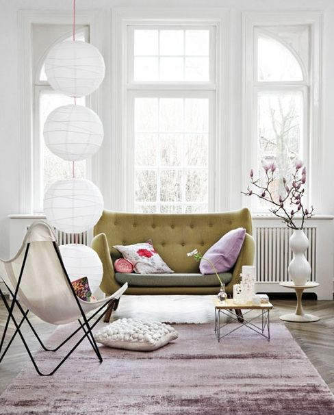.: Lights, Paris Apartment, Living Rooms, Window, Paper Lanterns, Color, Vanessa Bruno, Butterflies Chairs, Sofas