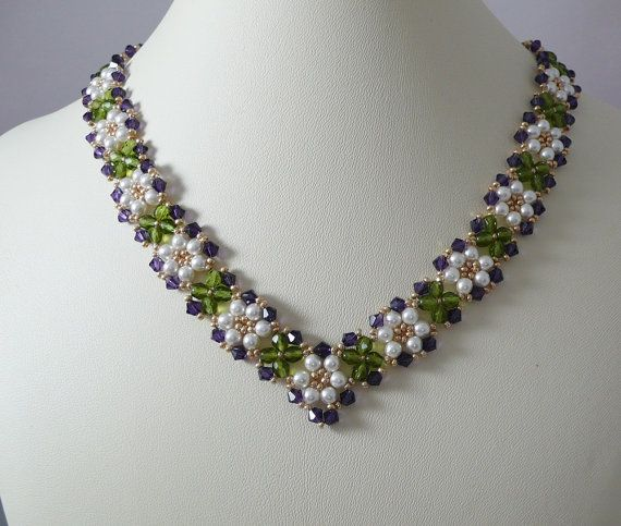Woven Necklace Pearl and Purple Velvet Crystal by IndulgedGirl, $28.00