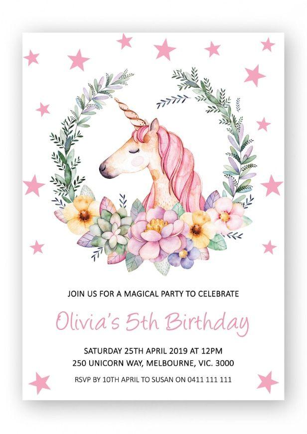 Unicorn Invitation Printable Party Invite Birthday Invitations Pink Stars Girl