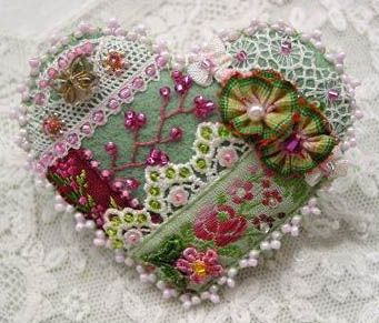 Crazy Quilt Heart Pin 10415B SORRY, THIS IS SOLD