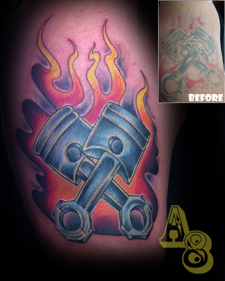 Ross from aces and eights tattoo in lakewood wa flames