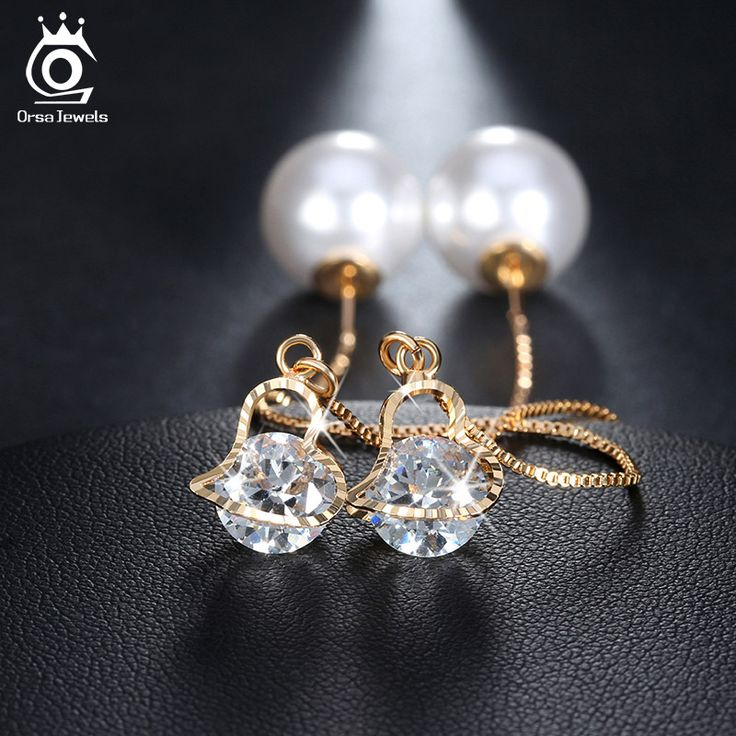 ORSA JEWELS Heart Shape Austrian Crystal Long Stud Earrings with Big Simulated Pearl Elegant Gold Plated Jewelry for Women OME26