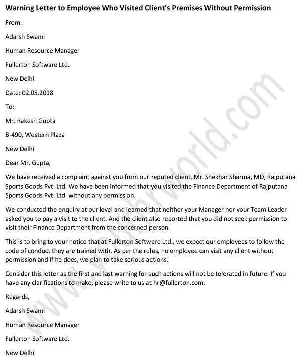 Warning Letter To Employee Who Visited Client S Premises Without