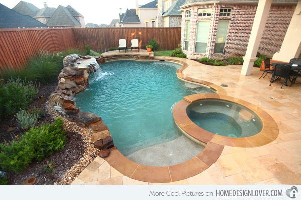 I like the water feature with this small pool 15 Remarkable Free Form Pool Designs - Home Design Lover