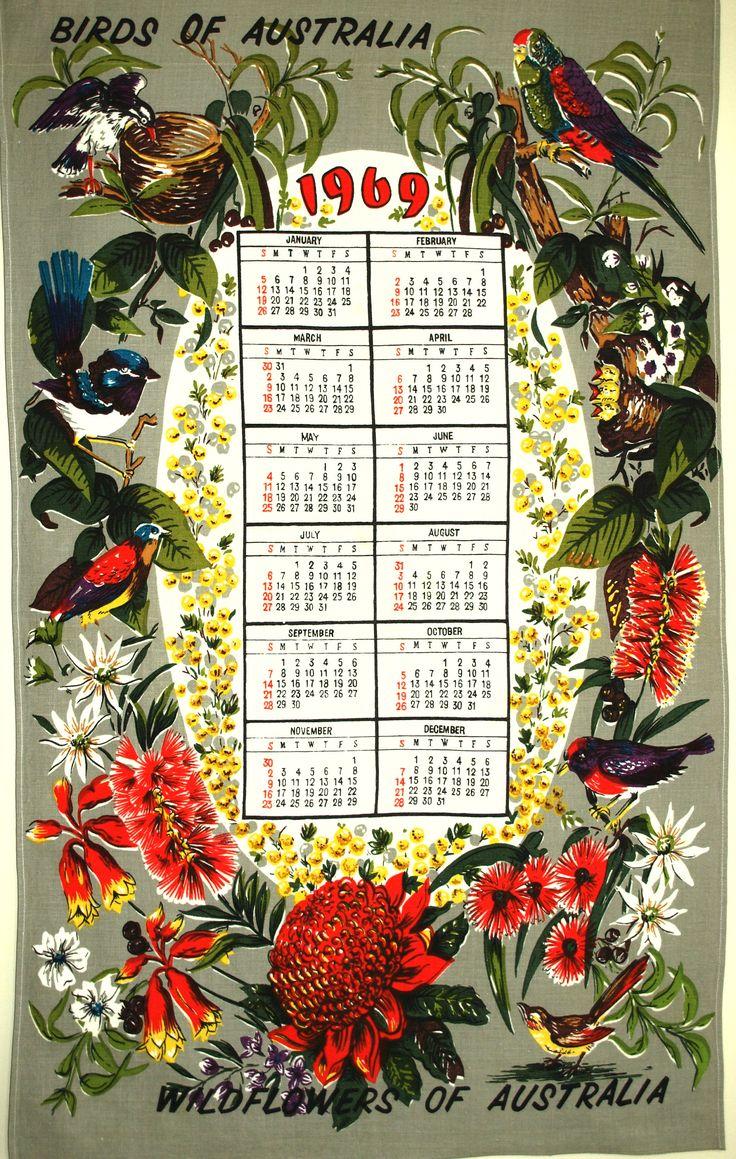 1969 Australia Calendar Kitsch Tea Towel - Vintage Mid Century Australian Birds & Wildflowers Tea Towel Birthday by FunkyKoala on Etsy