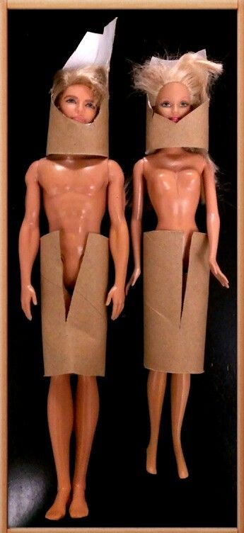 Toilet Roll Dummies, haircuts and dressed using recycled toilet rolls.