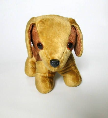Vintage Dog Toy, Stuffed Animals, Plushies dog, Vintage Dog, Plush Toy Animal, Plastic Nose, Collectible Toy, Stuffed Fur Dog, Glass Eye by VintBlueBird on Etsy