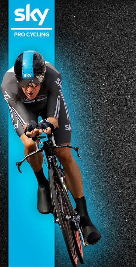 Bradley Wiggins Fantastic background photo of a time trial bike and rider.