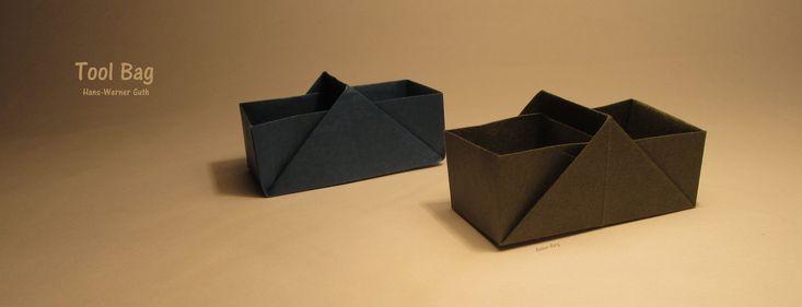 Модель бумажного ящика для инструментов от мастера оригами Hans-Werner Guth.